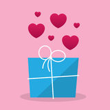 Package Gift Hearts Stock Image