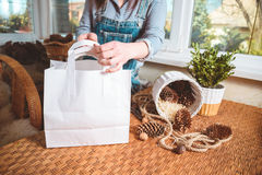 Package gift and tag, woman hands make stock photo