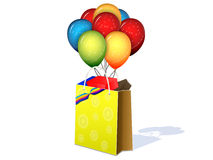 Package with gifts. And balloons on a white background Royalty Free Stock Photo