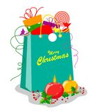 A package with gifts, sweets and a Santa Claus hat with a decor of round burning candles and holly leaves. Excellent decor element stock illustration