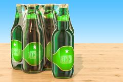 Package of glass beer bottles in shrink film on the wooden table. 3D Royalty Free Stock Photography