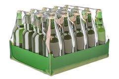 Package of glass drink bottles in shrink film, 3D rendering. Package of glass drink bottles in shrink film, 3D Royalty Free Stock Photos