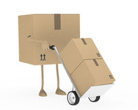 Package hand truck. Package figure brown hold a hand truck Royalty Free Stock Photography