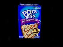 Package of Hot Fudge Sundae Pop Tarts on a Black Backdrop Stock Photo
