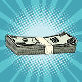 The package of hundred-dollar bills, wealth, business and Financ. E, pop art retro vector illustration Royalty Free Stock Image