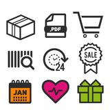 Package icon. PDF document symbol. 24 hour open icon. Shopping and sale signs. Heart and Birthday icons. Eps10 Vector. Package icon. PDF document symbol. 24 Royalty Free Stock Images