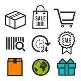 Package icon. Shopping bag, Shopping cart and sale symbols. 24 hour open icon. Birthday signs. World globe icons. Eps10 Vector. Package icon. Shopping bag Royalty Free Stock Images