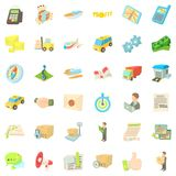 Package icons set, cartoon style. Package icons set. Cartoon style of 36 package vector icons for web isolated on white background Royalty Free Stock Image