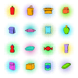 Package icons set, comics style Royalty Free Stock Images