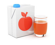 Package of juice and glass Royalty Free Stock Image