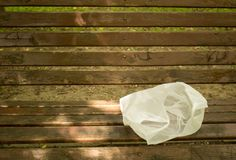 Package lies on a bench royalty free stock photography