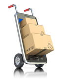 Package in the mobile. 3D concept with the smartphone and hand truck Royalty Free Stock Images