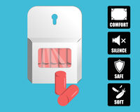 Free Package Of Foam Ear Plugs With Use Icons. Royalty Free Stock Image - 92700276