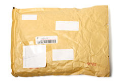 Package (parcel) isolated. On white royalty free stock photos