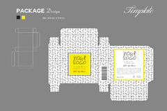Package puff powder skin color, box outline, Yellow background. Memphis pattern, flyer template layout, cosmetics, spa, beauty, vector illustration Royalty Free Stock Photo
