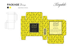 Package puff powder skin color, box outline Yellow background Stock Image