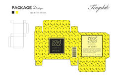 Package puff powder skin color, box outline, Yellow background Royalty Free Stock Photography