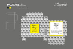 Package puff powder skin color, box outline, Yellow background Royalty Free Stock Image