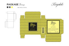 Package puff powder skin color, box outline, Yellow background Royalty Free Stock Photos
