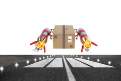 Fast delivery of package by turbo rocket. 3D Rendering. Package ready to take off from the track. 3D Rendering royalty free illustration