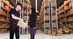 Package reception at the warehouse Royalty Free Stock Photography