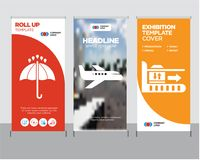 Package on rolling transport, Air transport, 24 hours roll up. Package on rolling transport modern business roll up banner design template, Air transport Stock Image