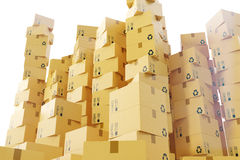 Package shipment, freight transportation and delivery concept, cardboard boxes. 3d rendering. Package shipment, freight transportation and delivery concept Stock Images