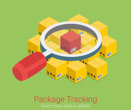 Package status tracking order shipping flat 3d isometric vector Royalty Free Stock Photo