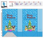 Package texture pattern with animals near the Christmas tree. Stock image vector royalty free illustration