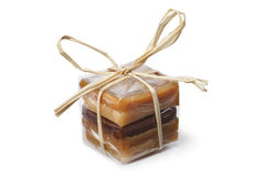 Package with a variation of sweet caramel bonbons Royalty Free Stock Image