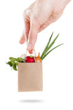 Package of vegetables set in hand. Concept sale and delivery products. On white. Package of vegetables set in hand. Concept sale and delivery products. Isolated Royalty Free Stock Images