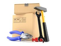 Package with work tools. On white background Royalty Free Stock Photography