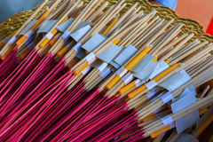 Package worship, Package of incense stick, candle and gold leaf worship close up Stock Photos