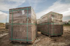 Packaged Bricks Used for. Infrastruture constructions of a new site Stock Images