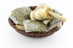 Packaged Dried Herbal Teas And Garlic Beater Stock Photos