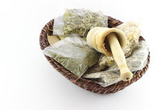 Packaged Dried Herbal Teas And Garlic Beater Royalty Free Stock Photos