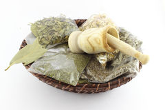 Packaged Dried Herbal Teas And Garlic Beater Stock Image