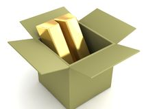Packaged gold bars in a box Royalty Free Stock Photography