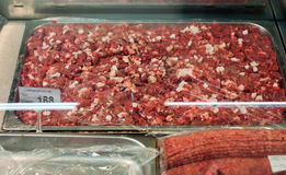 Packaged meat in the supermarket Stock Photo