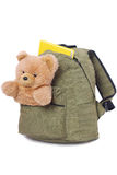 Packaged schoolbag. With book and teddy bear in pocket, isolated on white background Royalty Free Stock Image
