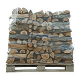 Packaged stack of freshly cut trees royalty free stock image