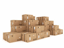 Packaged to be shipped. Closed cardboard boxes and wrapped with adhesive Royalty Free Stock Image