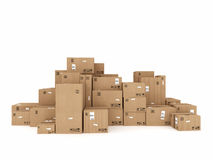 Packaged to be shipped. Closed cardboard boxes and wrapped with adhesive Royalty Free Stock Photography