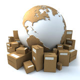 Packaged world. White and cardboard earth surrounded by big cardboard boxes Royalty Free Stock Photos