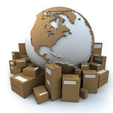 Packaged world. White and cardboard earth surrounded by big cardboard boxes Vector Illustration