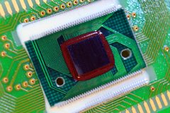 Packageless chip on printed circuit board Royalty Free Stock Photos
