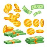Packages Of Banknotes Vector. Pile Of Cash. Dollar Stack. Hundreds Of Dollars. Isolated Flat Cartoon Illustration Royalty Free Stock Photos
