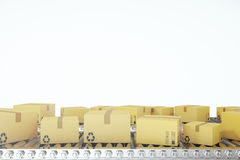 Packages delivery, packaging service and parcels transportation system concept, cardboard boxes on conveyor belt, 3d Royalty Free Stock Photo