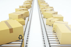Packages delivery, packaging service and parcels transportation system concept, cardboard boxes on conveyor belt, 3d Royalty Free Stock Images