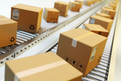 Packages delivery, packaging service and parcels transportation system concept Stock Photography
